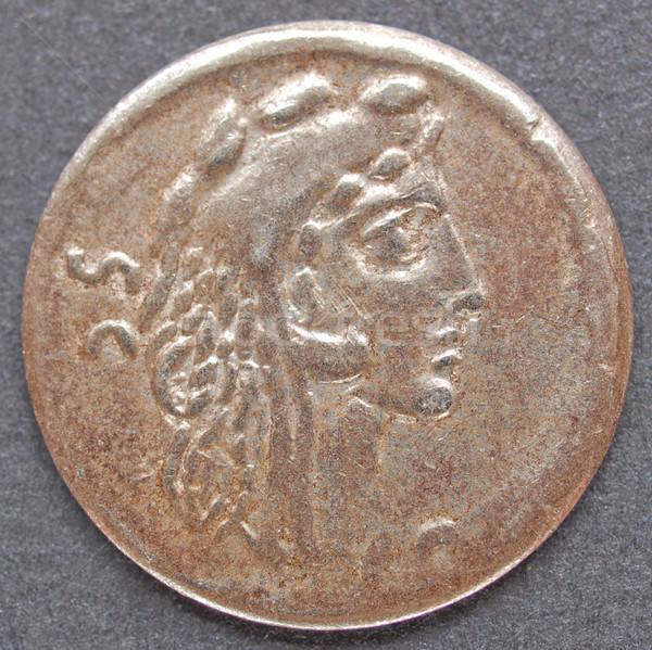 Stockfoto: Romeinse · munt · oude · zwarte · geld