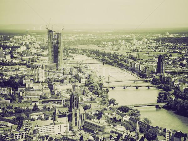 Bağbozumu sepya Frankfurt ana Almanya Stok fotoğraf © claudiodivizia