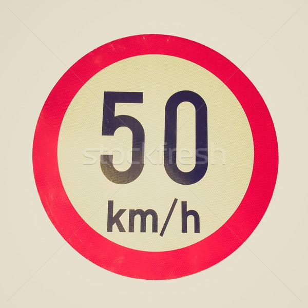 Retro néz sebességhatár felirat klasszikus néz Stock fotó © claudiodivizia