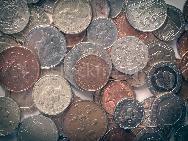 Retro look Pound coins Stock photo © claudiodivizia
