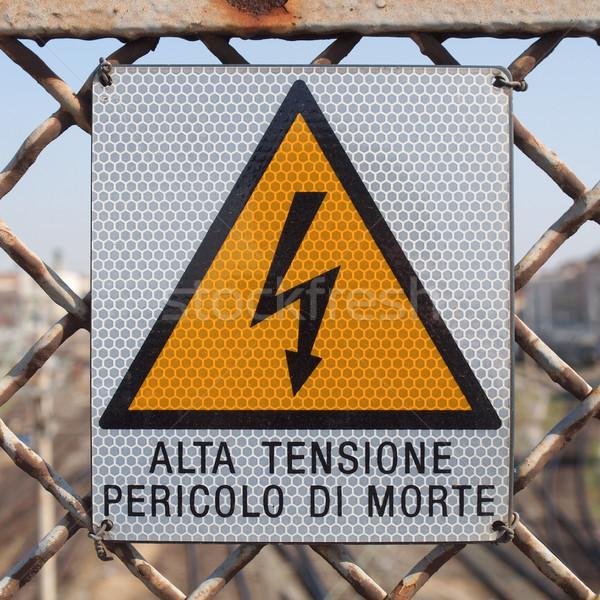 Elektrische schok teken risico energie Stockfoto © claudiodivizia