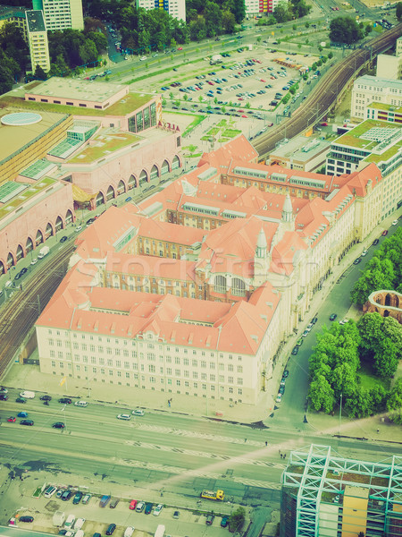 Retro look Berlin aerial view Stock photo © claudiodivizia