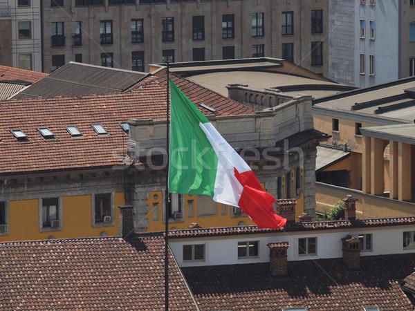 Italian flag Włochy dachu królewski pałac mediolan Zdjęcia stock © claudiodivizia