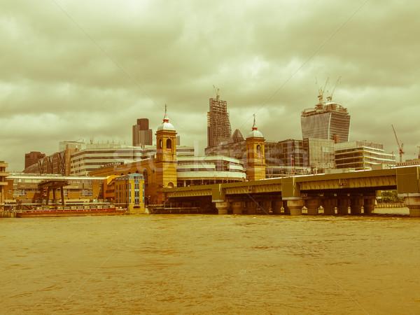 Retro néz folyó Temze London klasszikus Stock fotó © claudiodivizia