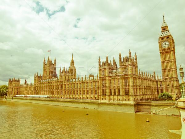 Retro looking Houses of Parliament Stock photo © claudiodivizia
