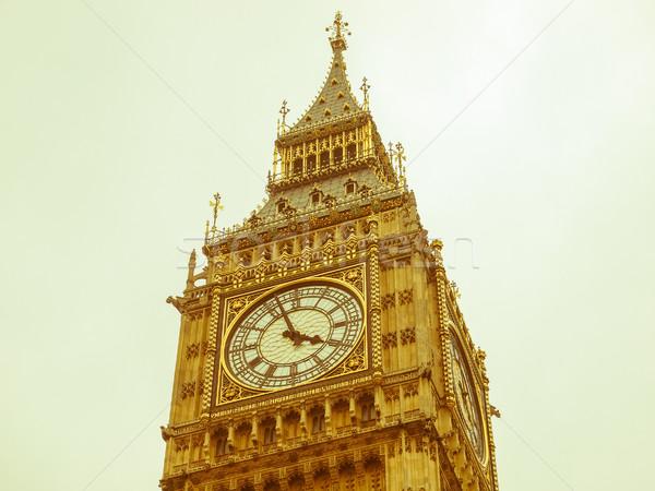 Retro olhando Big Ben vintage veja casas Foto stock © claudiodivizia