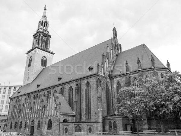 Berlin templom Németország feketefehér fekete gótikus Stock fotó © claudiodivizia
