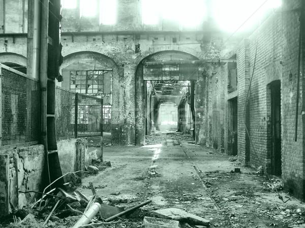 Elhagyatott gyár romok építészet Torino Torino Stock fotó © claudiodivizia