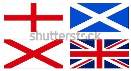 Drapeaux Angleterre Écosse pays de galles Royaume-Uni union jack Photo stock © claudiodivizia