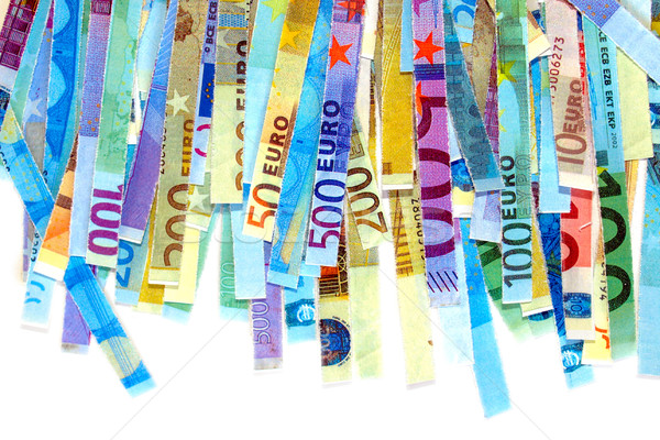Euro beachten Geld Verbrennung Banknoten geschnitten Stock foto © claudiodivizia