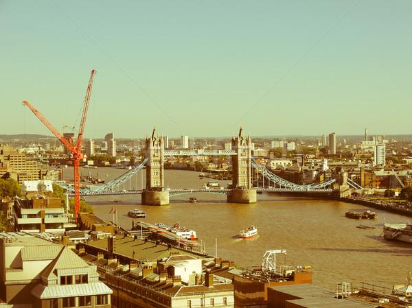 Retro bakıyor Tower Bridge Londra bağbozumu bakmak Stok fotoğraf © claudiodivizia