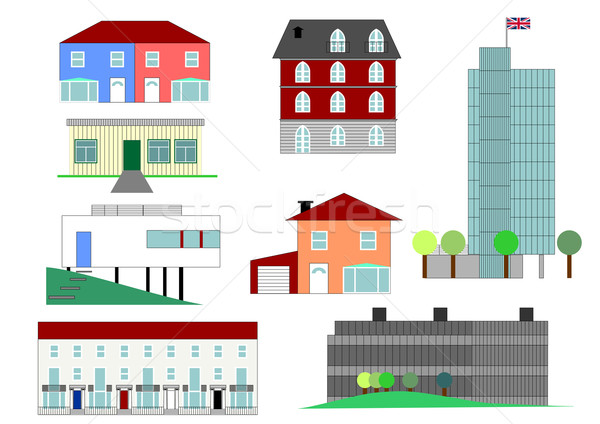 Houses illustration Stock photo © claudiodivizia