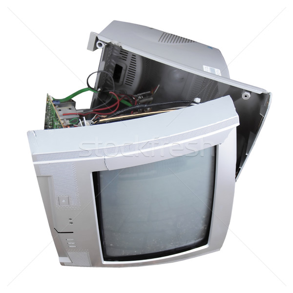 Foto stock: Velho · quebrado · isolado · branco · textura