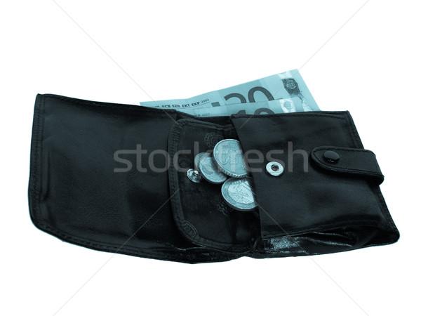 Pénztárca hideg kék retro iratok érmék Stock fotó © claudiodivizia
