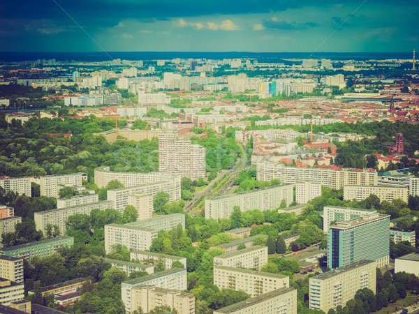 Retro néz Berlin légifelvétel klasszikus néz Stock fotó © claudiodivizia