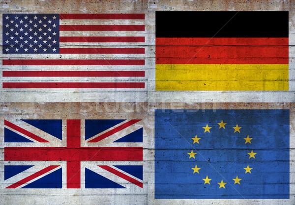 Stock fotó: Zászlók · beton · fal · Egyesült · Államok · Európa · Németország