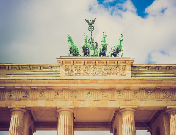 Retro look Brandenburger Tor Berlin Stock photo © claudiodivizia