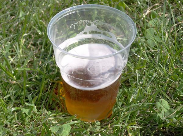 Bière pinte herbe potable parc mise au point sélective Photo stock © claudiodivizia
