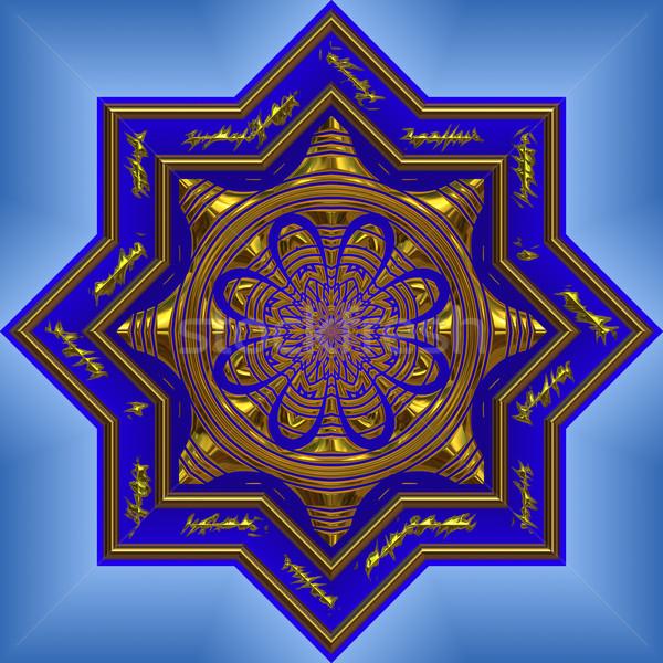 Bleu mandala grand lumineuses belle or Photo stock © clearviewstock