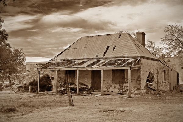 old farmhouse ruins in sepia Stock photo © clearviewstock