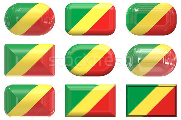 Dokuz cam düğmeler bayrak cumhuriyet Kongo Stok fotoğraf © clearviewstock