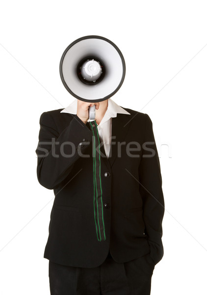 Jovem mulher de negócios megafone isolado branco terno Foto stock © clearviewstock