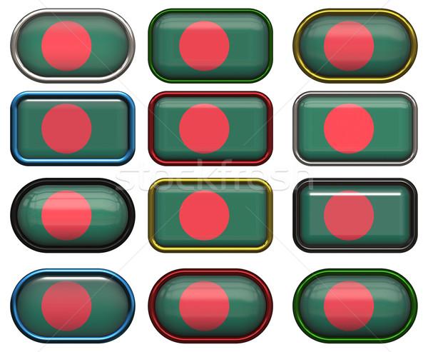 Tizenkettő gombok zászló Banglades Stock fotó © clearviewstock