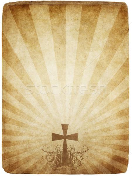 Cruz pergamino edad sucio pergamino Foto stock © clearviewstock
