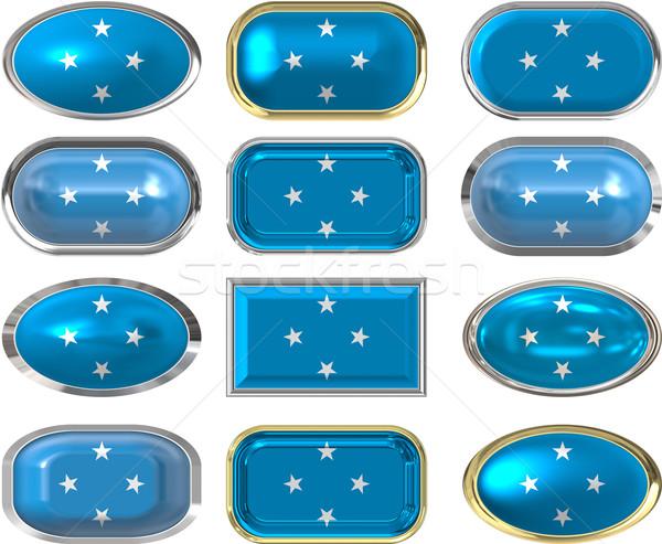 12 botões bandeira Micronésia doze Foto stock © clearviewstock