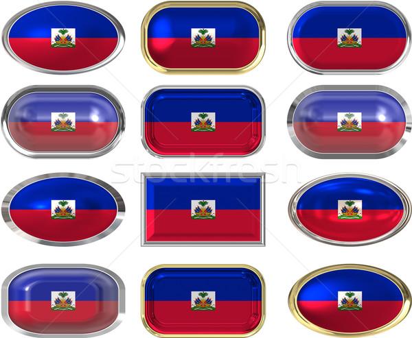 Dodici pulsanti bandiera Haiti immagine Foto d'archivio © clearviewstock