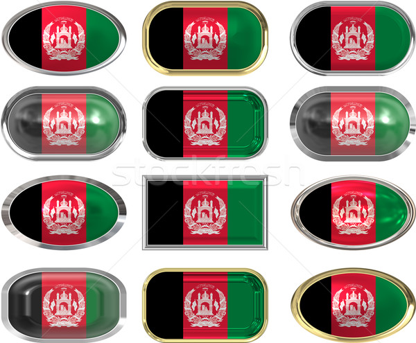 twelve buttons of the  Flag of afghanistan Stock photo © clearviewstock