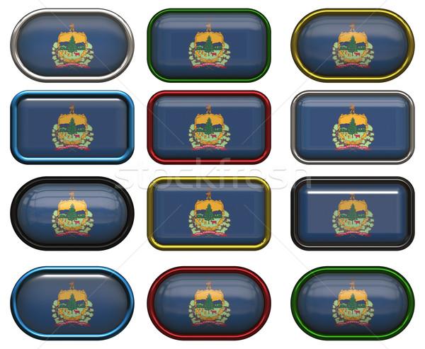 12 botões bandeira Vermont doze Foto stock © clearviewstock