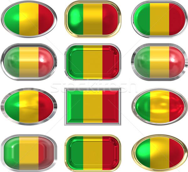Oniki düğmeler bayrak Mali Stok fotoğraf © clearviewstock