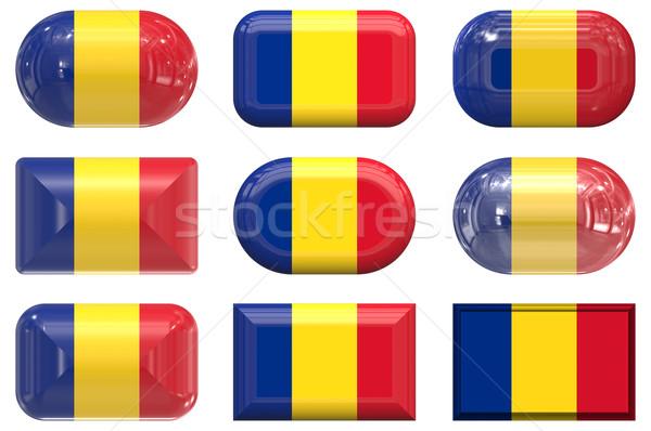 Negen glas knoppen vlag Roemenië Stockfoto © clearviewstock