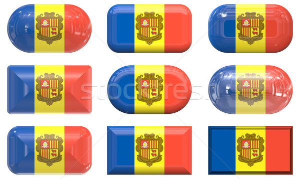 nine glass buttons of the Flag of andorra Stock photo © clearviewstock