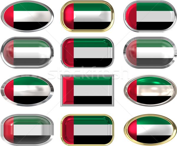 12 botões bandeira Emirados Árabes Unidos doze Foto stock © clearviewstock