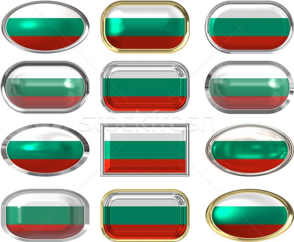 двенадцать Кнопки флаг Болгария Сток-фото © clearviewstock