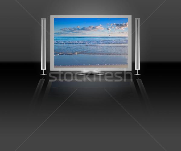 Plazma lcd tv plaj doğa sahne Stok fotoğraf © clearviewstock
