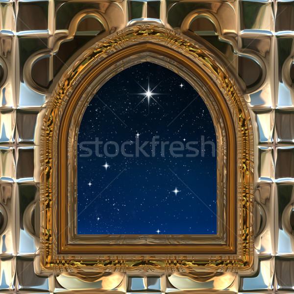 Finestra guardando fuori cielo notturno star gothic Foto d'archivio © clearviewstock