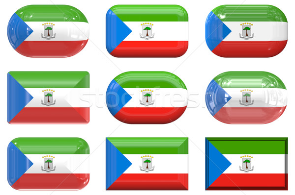 nine glass buttons of the Flag of Equatorial Guinea Stock photo © clearviewstock