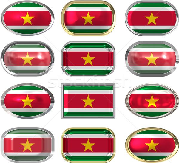 Dodici pulsanti bandiera Suriname Foto d'archivio © clearviewstock
