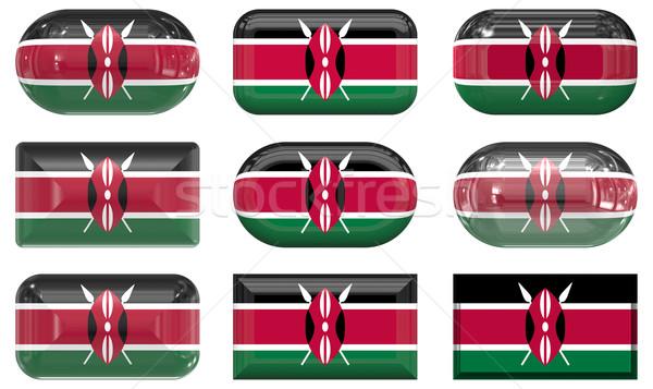 Kilenc üveg gombok zászló Kenya Stock fotó © clearviewstock