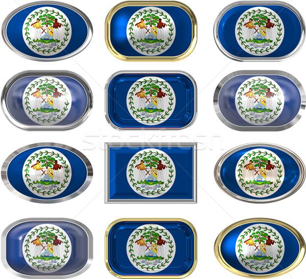 Tizenkettő gombok zászló Belize Stock fotó © clearviewstock