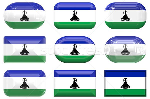 Dziewięć szkła przyciski banderą Lesotho Zdjęcia stock © clearviewstock