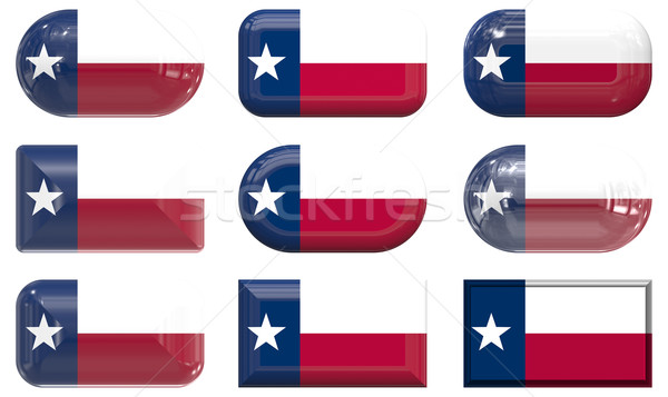 nine glass buttons of the Flag of Texas Stock photo © clearviewstock