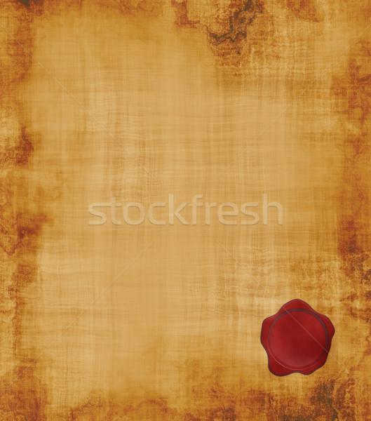 Stock fotó: Régi · pergamen · fóka · nagy · kép · öreg · elnyűtt