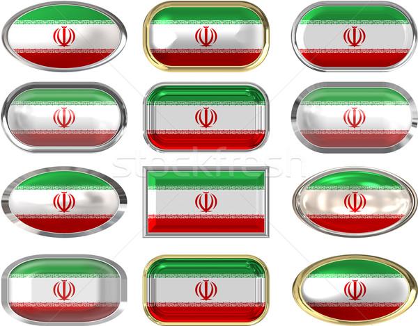 Tizenkettő gombok zászló Irán háttér Stock fotó © clearviewstock