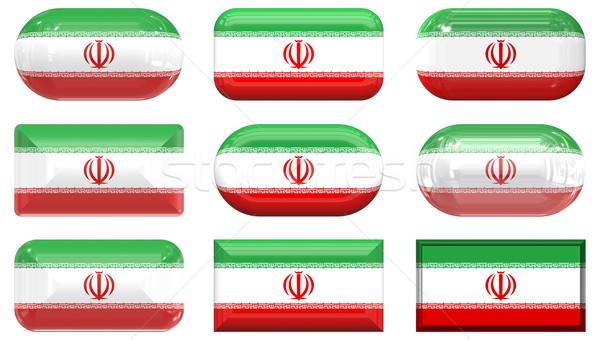 Kilenc üveg gombok zászló Irán Stock fotó © clearviewstock