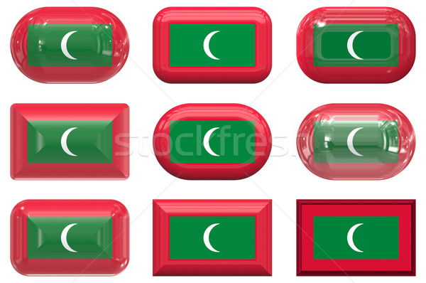 nine glass buttons of the Flag of Maldives Stock photo © clearviewstock