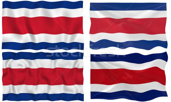 Zászló Costa Rica nagyszerű kép fehér négy Stock fotó © clearviewstock